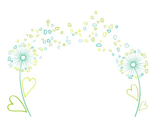 Vector illustration with cartoon blue and green dandelions on white background. Meadow plant with heart shaped feather fluff, leaves, petals flying. Summer floral graphic design print. Blossom couple.