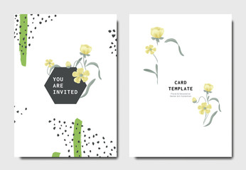 Botanical invitation card template design, yellow flower with hand drawn doodle graphics on white background, minimalist vintage style