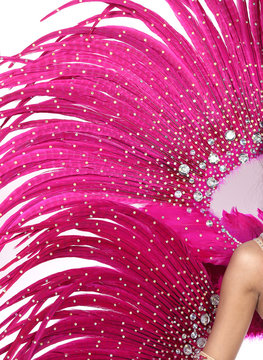 Feather Wings with colorful decorative costume sexy for dancer cabaret Show girl on isolated white background
