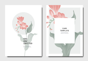 Botanical invitation card template design, red freesia flowers with leaves on grey and white background, minimalist vintage style