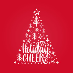 Handwritten phrase Holidays Cheer. Vector Christmas spruce illustration on red background