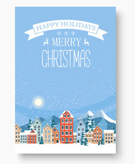 Merry Christmas and happy holidays greeting card.