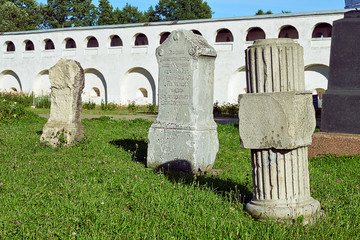 Foto op Canvas Monument Ancient monuments of the tombs in churchyard of the Joseph-Volotsky monastery in Russia
