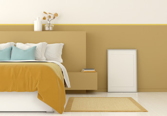 Interior of a yellow bedroom with frame