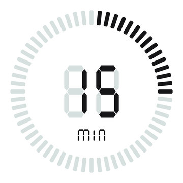 The digital timer 15 minutes. electronic stopwatch with a gradient dial starting vector icon, clock and watch, timer, countdown symbol.