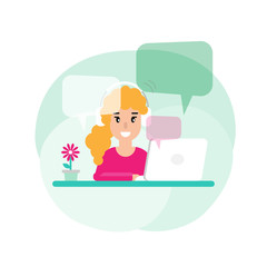 Happy freelancer girl on computer with speech bubbles.