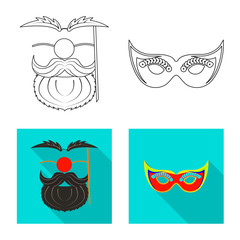 Vector design of party and birthday logo. Collection of party and celebration stock vector illustration.