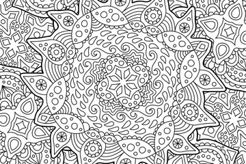 Beautiful coloring book page with abstract art