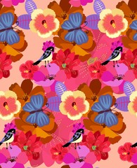 Bright seamless pattern with exotic flowers and cute birds in vector. Print for fabric, paper, wallpaper, wrapping design.