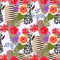 Seamless exotic patchwork pattern with stylized skin of zebra and leopard and tropical flowers and leaves. Print for fabric in vector.