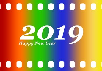 New year greetings for 2019 with colorful blank film and photographic window with white inscription Happy new year and number 2019 on a color background