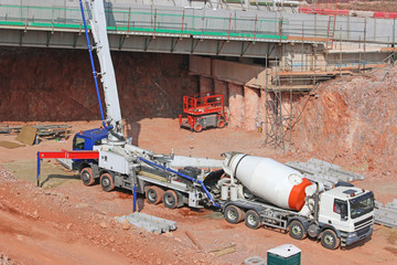 Cement mixer on a construction site