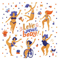 Love your body poster, banner with lettering and pretty plus size women, girls in swimming suits dancing happily, one in wheelchair, flat vector illustration on white background. Love your body banner