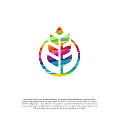 Abstract Colorful Wheat logo vector, Grain logo designs template