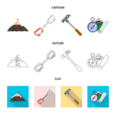 Vector design of mountaineering and peak sign. Collection of mountaineering and camp stock symbol for web.