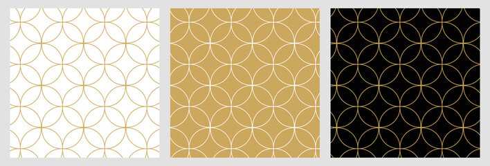 Aluminium Prints Pattern Seamless abstract modern geometric circle line pattern for elegant golden christmas background