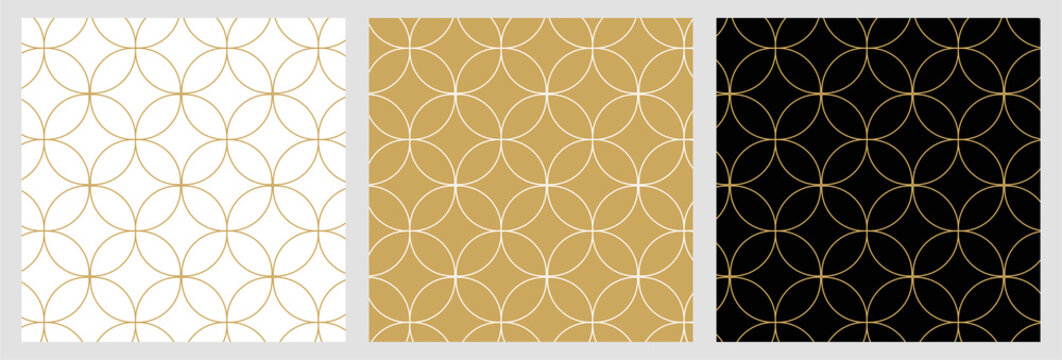 Seamless abstract modern geometric circle line pattern for elegant golden christmas background