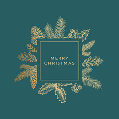 Merry Christmas Abstract Greeting Card with Square Frame Banner and Modern Typography. Golden Glitter Emblem with Sketch Drawings Layout. Premium Green Background