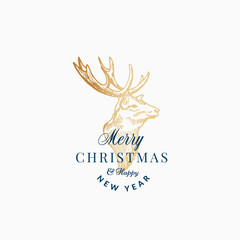 Merry Christmas Abstract Vector Retro Label, Sign or Card Template. Hand Drawn Golden Reindeer or Deer Head Sketch Illustration with Vintage Typography.