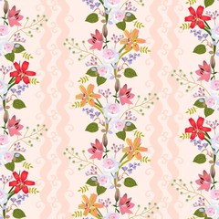 Seamless natural pattern with romantic floral wreath of lilies, roses, bell flowers, buds of spirea and branches with stylized green berries in vector. Print for fabric, wallpaper.
