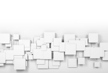 Abstract installation of 3d random squares