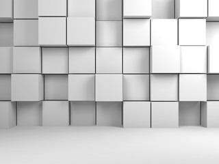 Abstract white digital background, 3d cubes