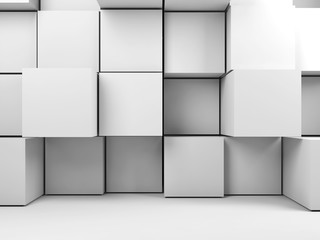 Wall 3d installation of random extrudes cubes