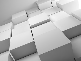 Abstract white random extruded cubes