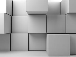 3 d installation of random extrudes cubes