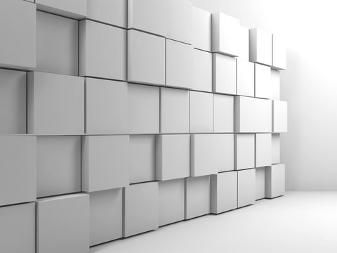 Abstract white interior, wall installation 3d