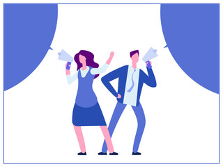 Man and woman with megaphone and bubble speech vector illustration cartoon style design