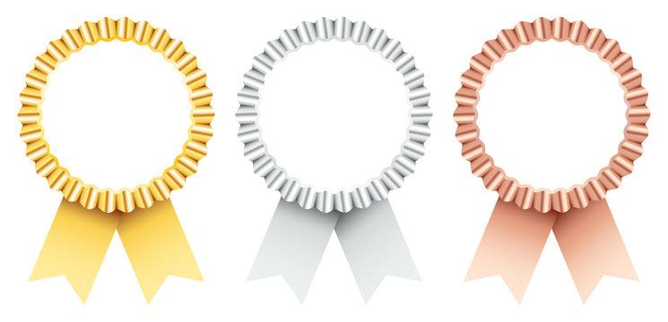 Award Badges Golden/Silver/Bronze Ribbon
