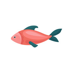Small bright red fish with blue fins. Sea animal. Marine creature. Flat vector element for children book