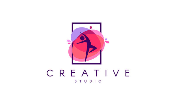Dance logo. Dance studio logo design.  Fitness class banner background with symbol of abstract stylized gymnast girl in dancing pose.