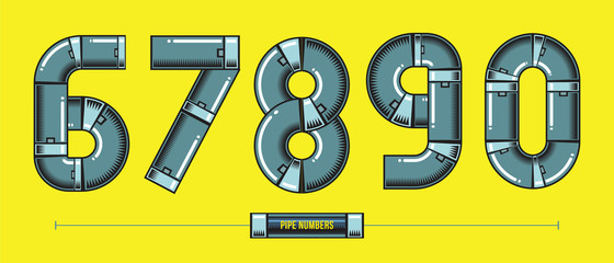 Numbers Metal pipes style in a set 67890 comic vector
