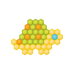 Little turtle made of multicolored children s mosaic. Educational game for kids. Flat vector design