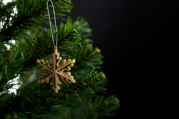 Christmas or new year decorated fir tree