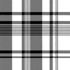 Black white fabric texture pixel asymmetrical seamless pattern