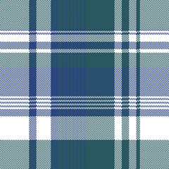 Blue green color pixel plaid seamless pattern