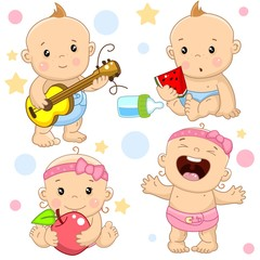 A set of illustrations of icons with a baby girl and boy, the boy plays the guitar, eats a watermelon instead of milk from a bottle, the girl sits with an apple and sings.