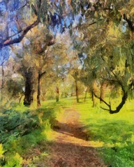 Hand drawing watercolor art on canvas. Artistic big print. Original modern painting. Acrylic dry brush background.  Wonderful summer forest landscape. Beautiful view. Charming resort.