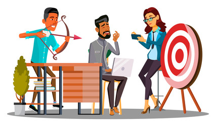 Business Meeting, The Team Meeting And One Employee Shooting At The Target Vector. Isolated Illustration