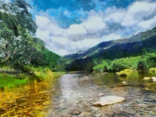 Hand drawing watercolor art on canvas. Artistic big print. Original modern painting. Acrylic dry brush background.  Wonderful landscape. Beautiful view. Mountain resort. Luxury paradise. Travel time