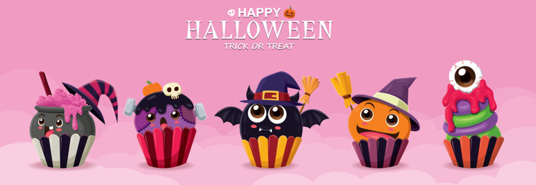 Vintage Halloween poster design with vector witch cupcake & ghost character.