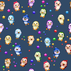 little colorful penguins, pattern