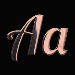 Design Font with 3D rendering and metallic rose gold texture isolated on black background, lowercase and uppercase letter A for invitation, poster, greeting card