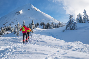 Tourists on their way to  the snow-covered mountain top. Winter hiking.