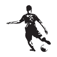 Soccer player kicking ball, front view. Footballer isolated vector silhouette