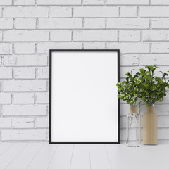 Frame Mockup Poster Mockup in White Interior with Beautiful Decoration