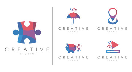 Multicolored Logotype set. Brand identity collection for music, education , animals,  technology, social media , vector template.